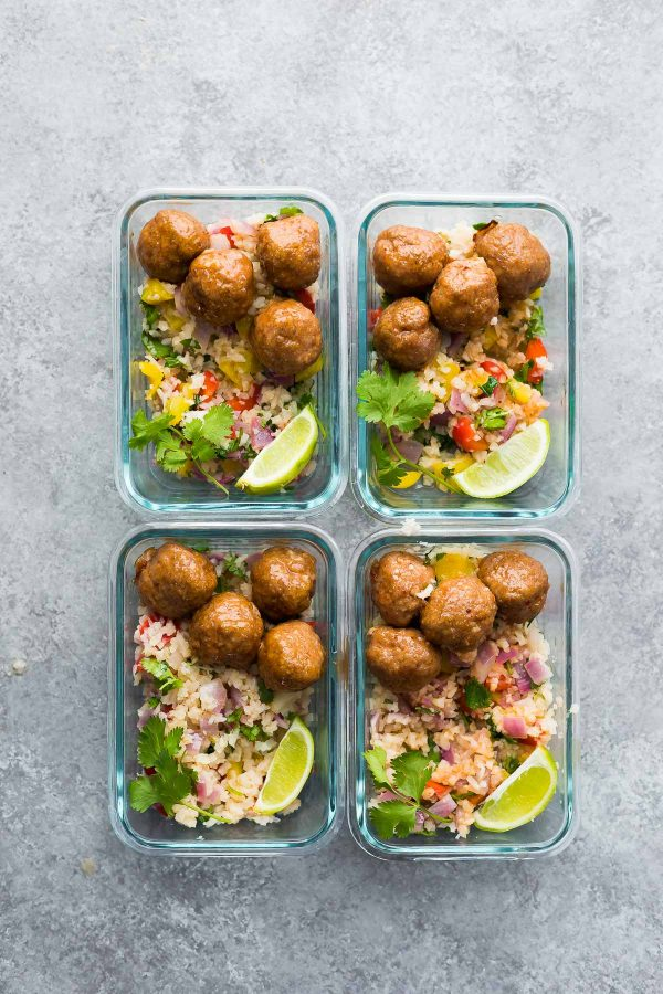 Honey Chipotle Meatball Meal Prep Bowls from sweetpeasandsaffron.com on foodiecrush.com
