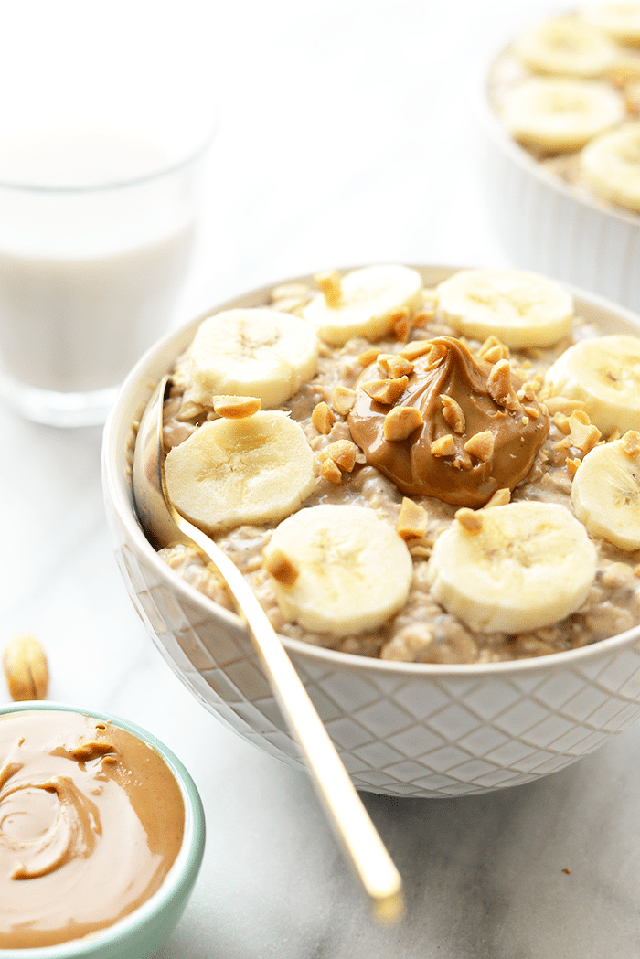 Peanut Butter Banana Overnight Oats from fitfoodiefinds.com on foodiecrush.com