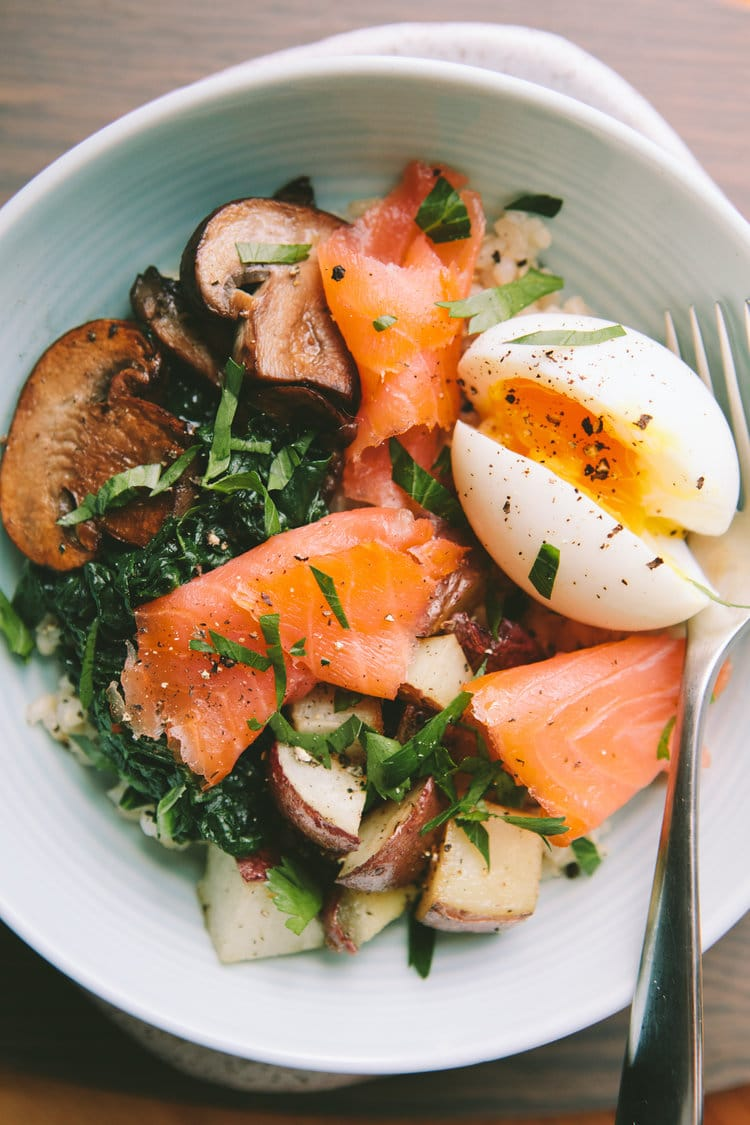 Smoked Salmon Breakfast Bowl with 6-Minute Egg from athoughtforfood.com on foodiecrush.com
