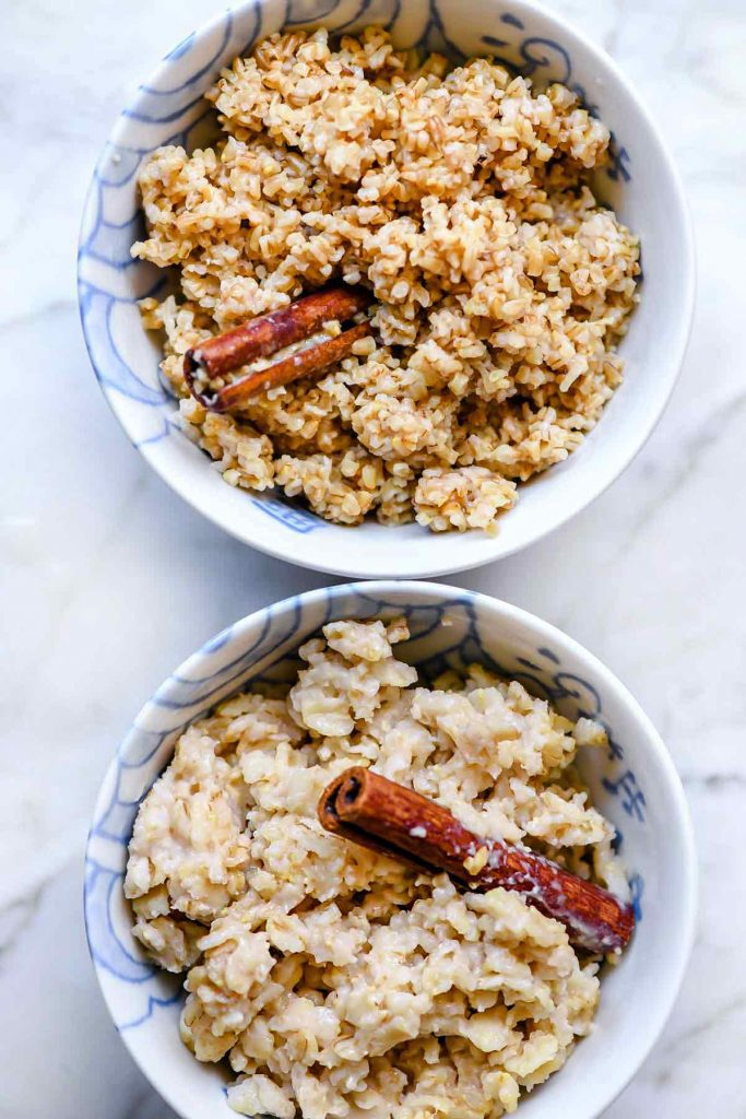 Instant Pot Oatmeal Recipe for Steel Cut Oats and Rolled Oats | foodiecrush.com #oatmeal #steelcut #recipes #instantpot