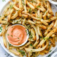 Killer Garlic Fries with Rosemary | foodiecrush.com #fries #frenchfries #garlic #recipes