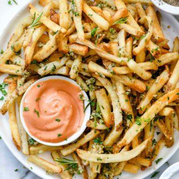 Killer Garlic Fries with Rosemary | foodiecrush.com #fries #frenchfries #garlic #recipes