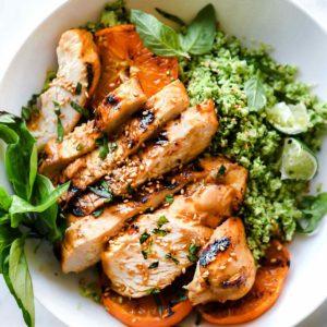 Orange Chicken and Broccoli Rice Bowls | foodiecrush.com