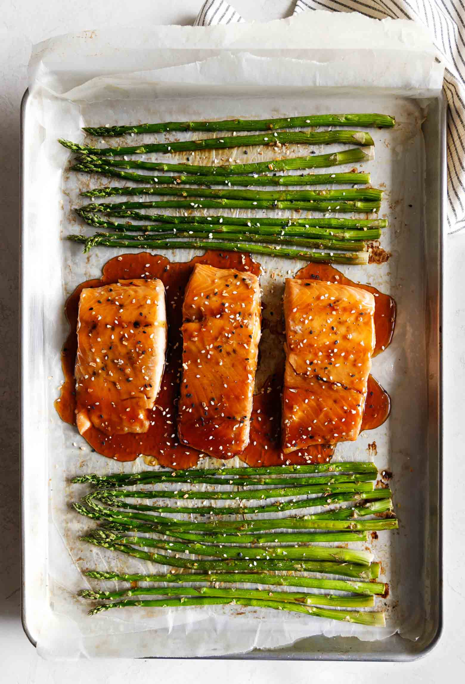 Baked Sesame Glazed Salmon and Asparagus from lecremedelacrumb.com on foodiecrush.com