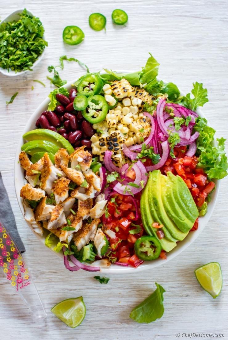 Blackened Fish Taco Salad from chefdehome.com on foodiecrush.com