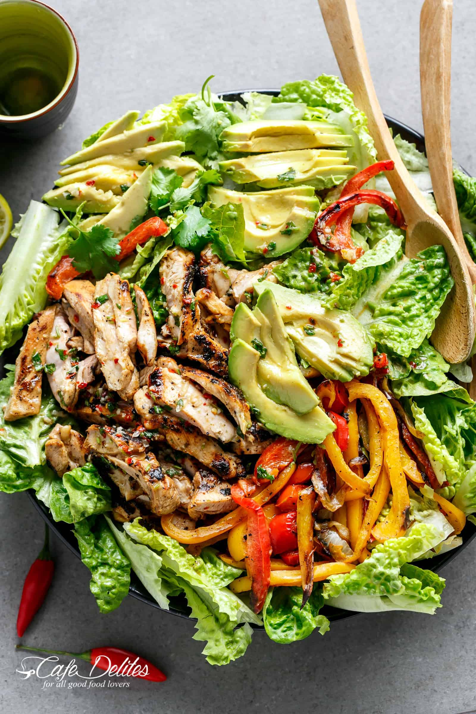Grilled Chili Lime Chicken Fajita Salad from cafedelites.com on foodiecrush.com
