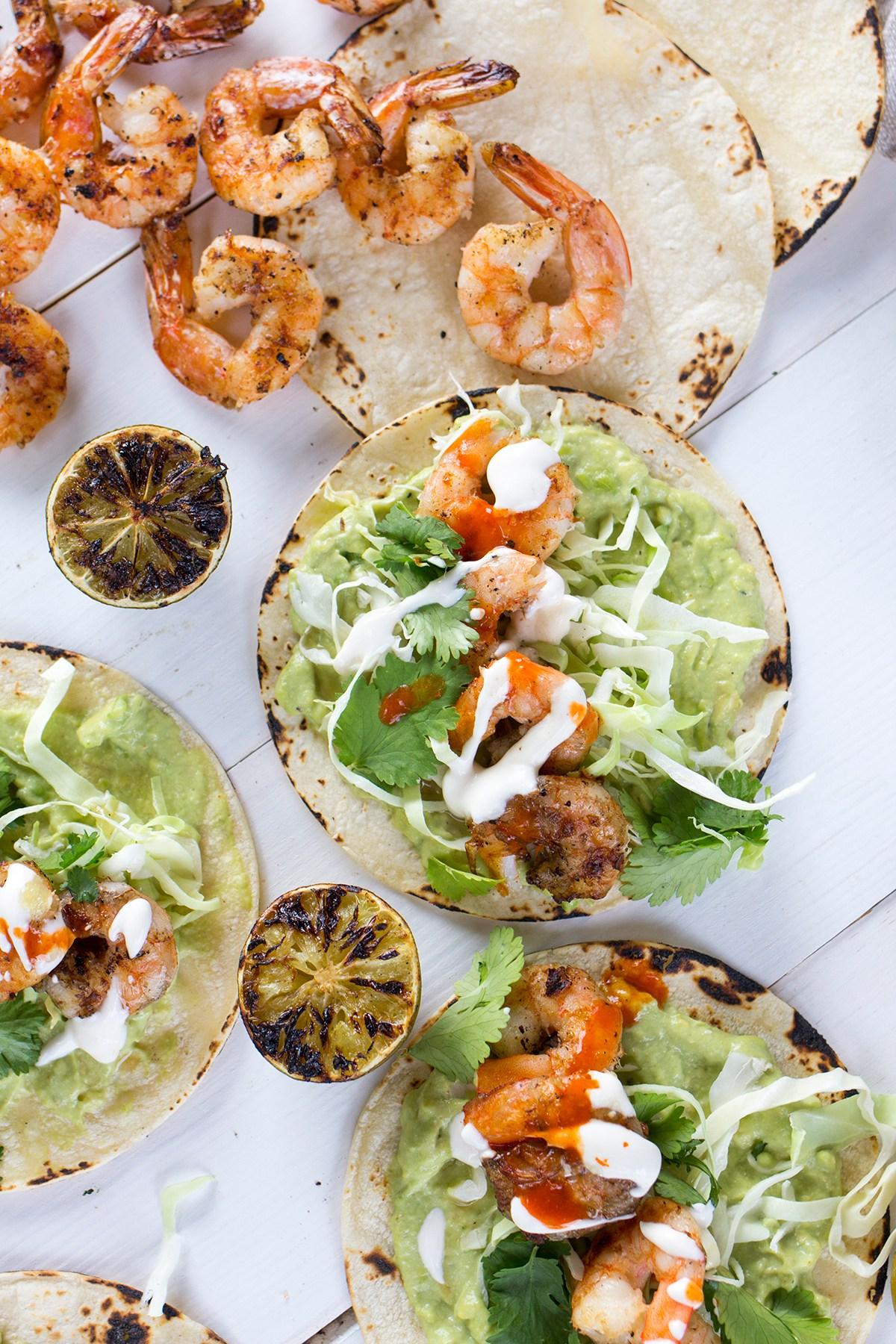 Grilled Shrimp Tacos with Avocado Crema from freutcake.com on foodiecrush.com