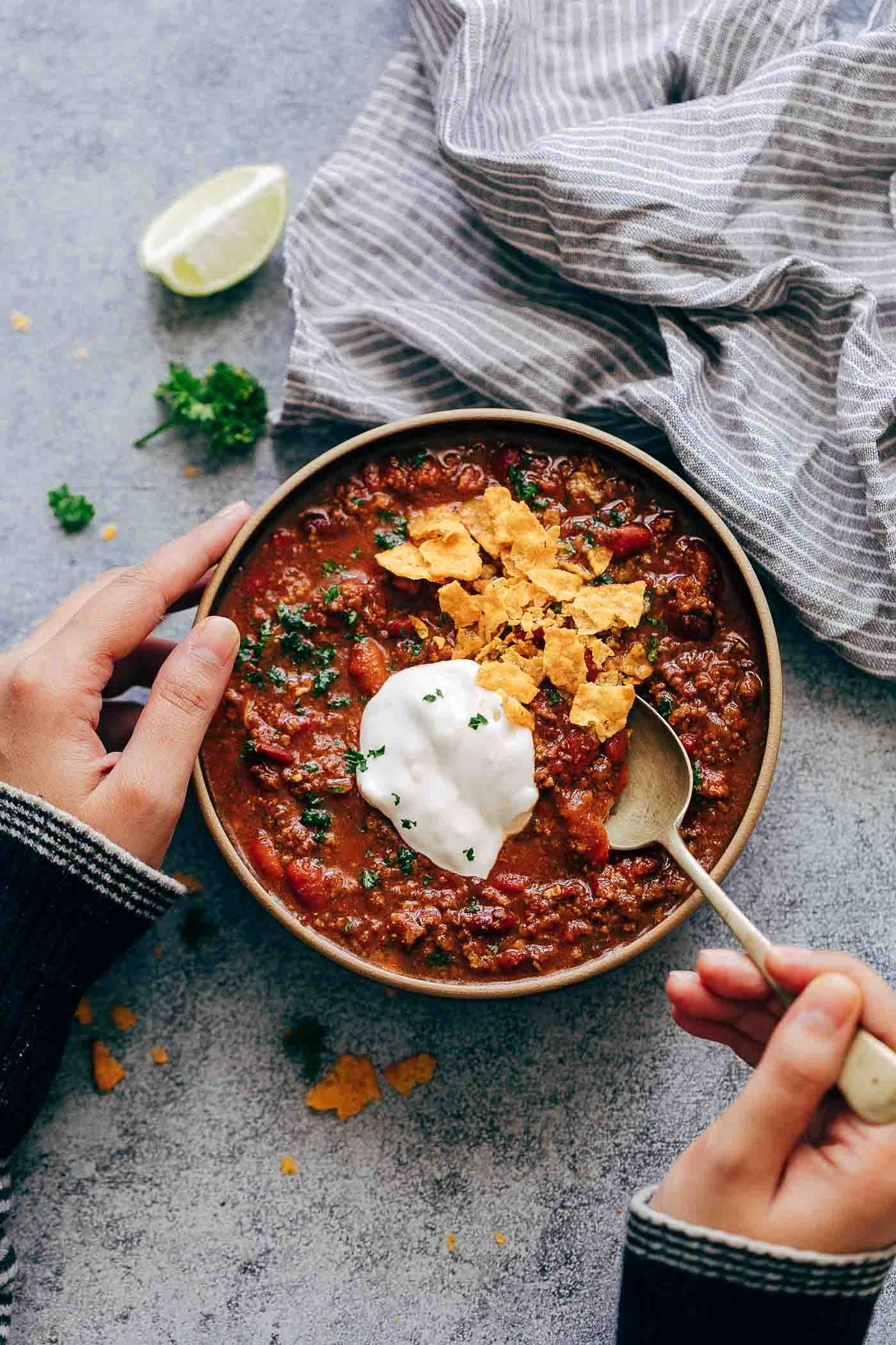 Instant Pot Chipotle Chili from myfoodstory.com on foodiecrush.com