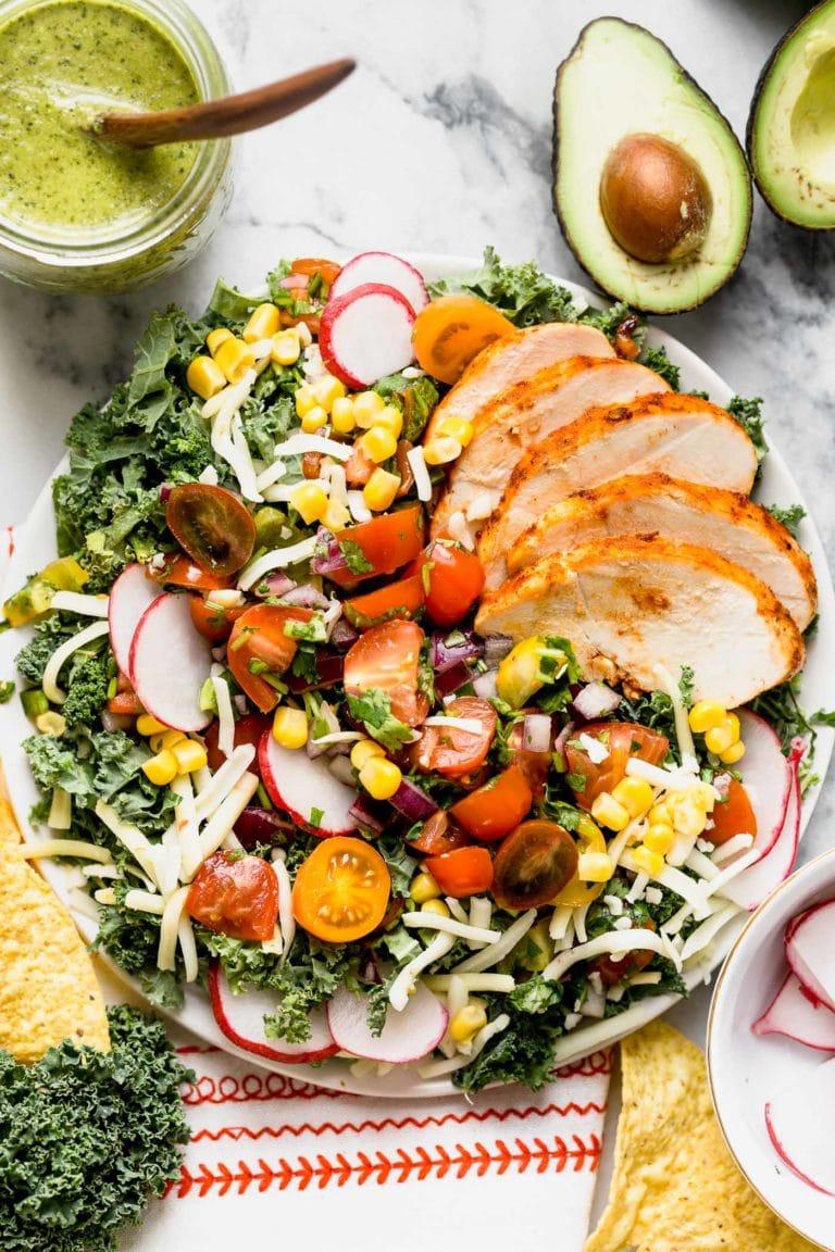 Kale Taco Salad with Roasted Jalapeño Lime Vinaigrette from playswellwithbutter.com on foodiecrush.com