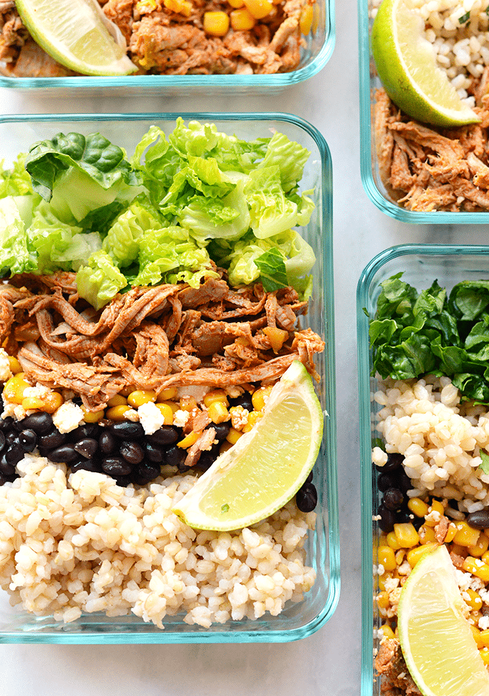 Meal Prep Carnitas Burrito Bowls from fitfoodiefinds.com on foodiecrush.com