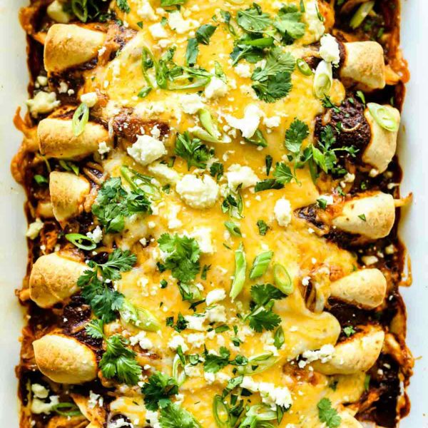 Easy Chicken Mole Enchiladas | foodiecrush.com #enchiladas #easy #chicken #mole #recipes