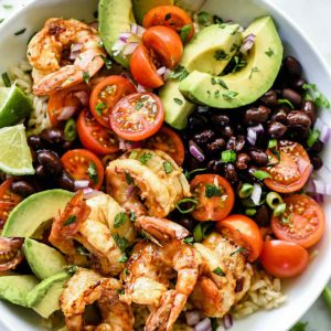 Chipotle Lime Shrimp Bowls | foodiecrush.com #shrimp #ricebowls #healthy #Mexican