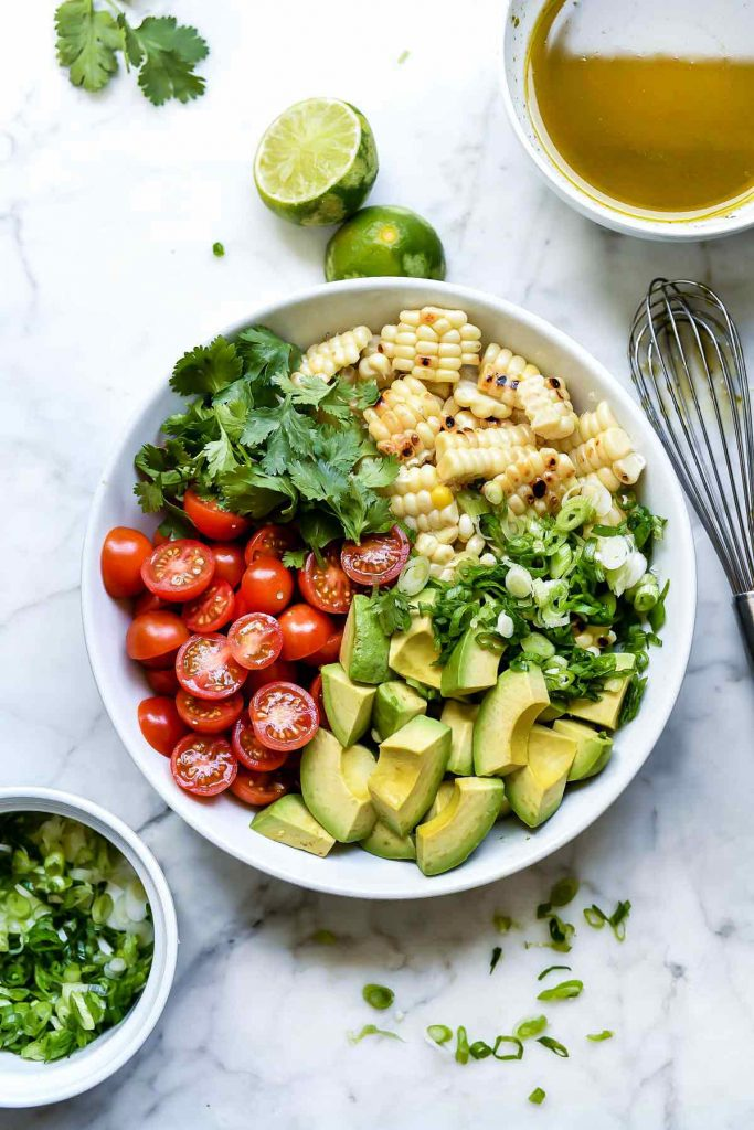 Grilled Corn, Tomato and Avocado Salad | foodiecrush.com #salad #tomato #avocado #corn #summer #recipes