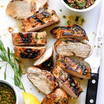 Mediterranean Grilled Balsamic Chicken with Olive Tapenade | foodiecrush.com #chicken #balsamic #grill #Mediterranean #recipes