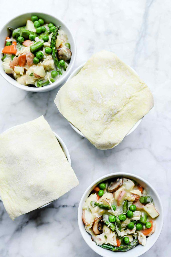 Chicken Pot Pie with Puff Pastry Crust | foodiecrush.com #chickenpotpie #asparagus #mushrooms #chicken #recipes