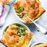 Chicken Pot Pie with Asparagus and Mushrooms | foodiecrush.com #chickenpotpie #asparagus #mushrooms #chicken #recipes