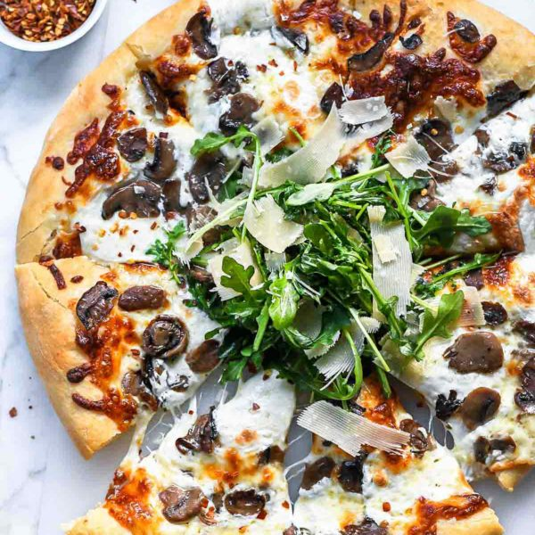 Truffled Mushroom Pizza | foodiecrush.com #pizza #truffles #mushrooms #recipes