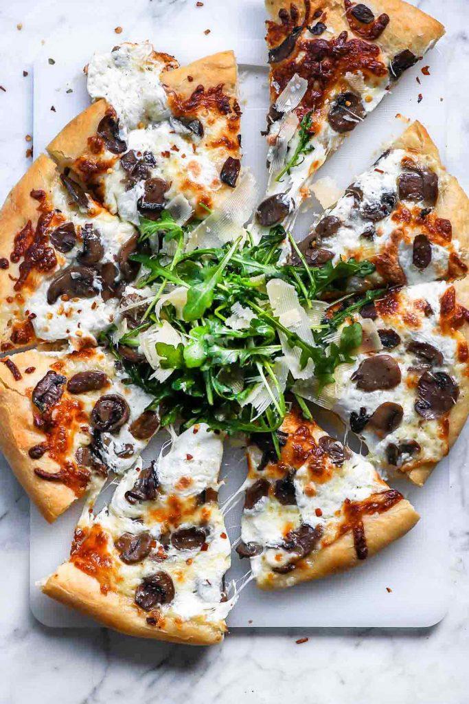 Truffled Mushroom Pizza | foodiecrush.com #pizza #truffles #mushrooms #recipes