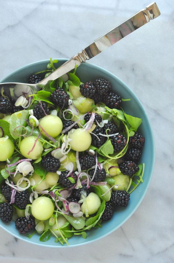Honeydew Melon & Blackberry Salad from thishealthytable.com on foodiecrush.com