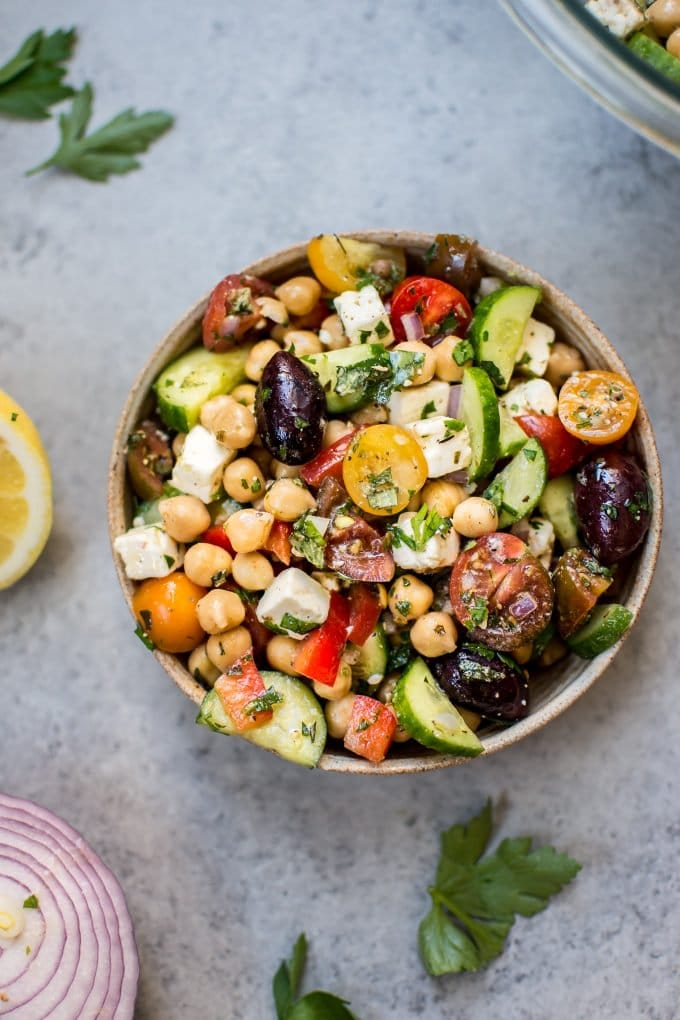 Mediterranean Chickpea Salad from saltandlavender.com on foodiecrush.com