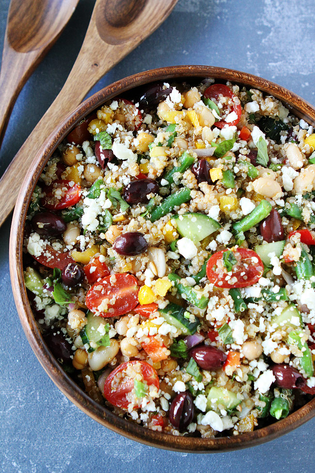 Mediterranean Three Bean Quinoa Salad from twopeasandtheirpod.com on foodiecrush.com