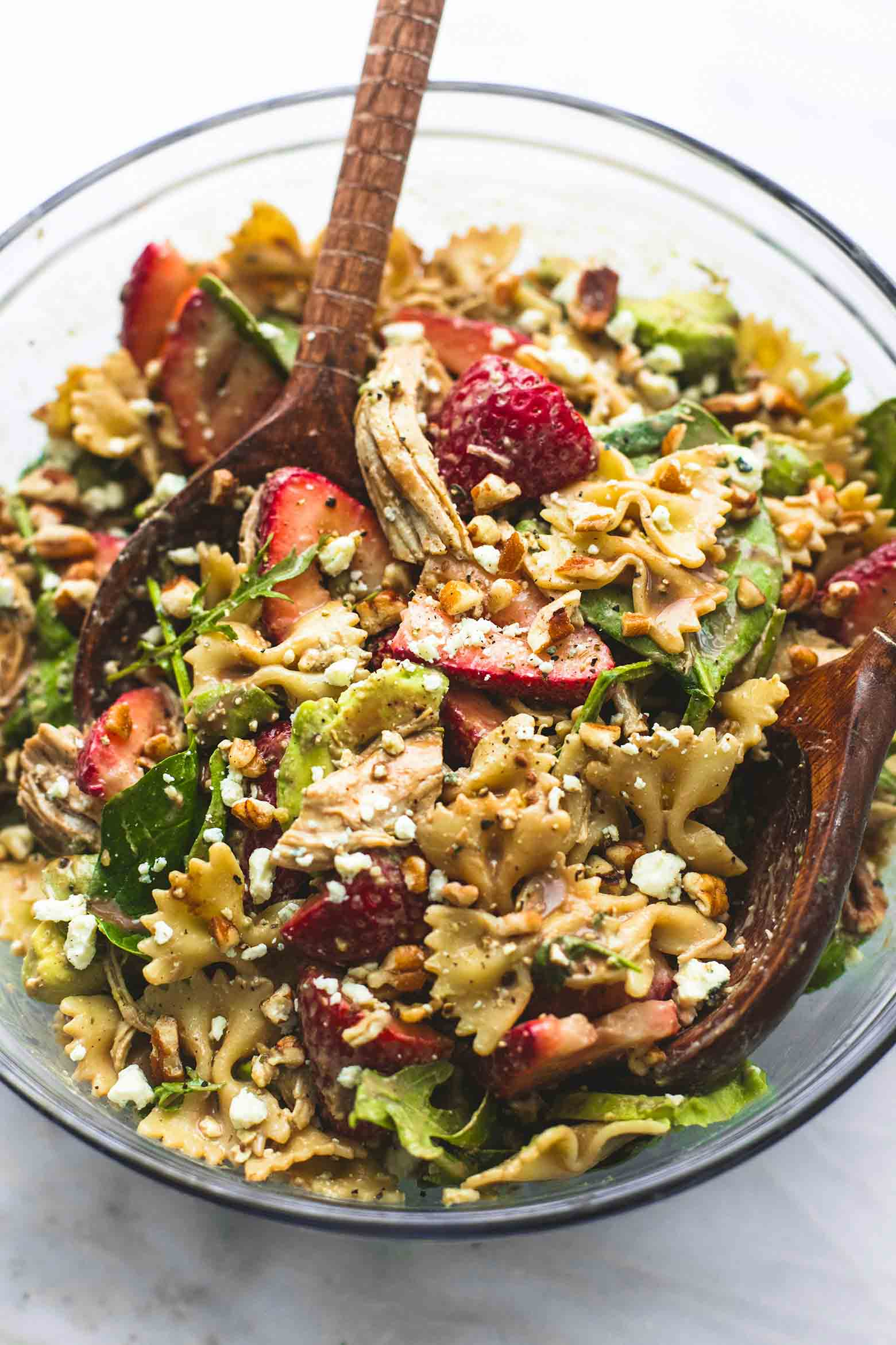 Strawberry Avocado Chicken Pasta Salad from lecremedelacrumb.com on foodiecrush.com