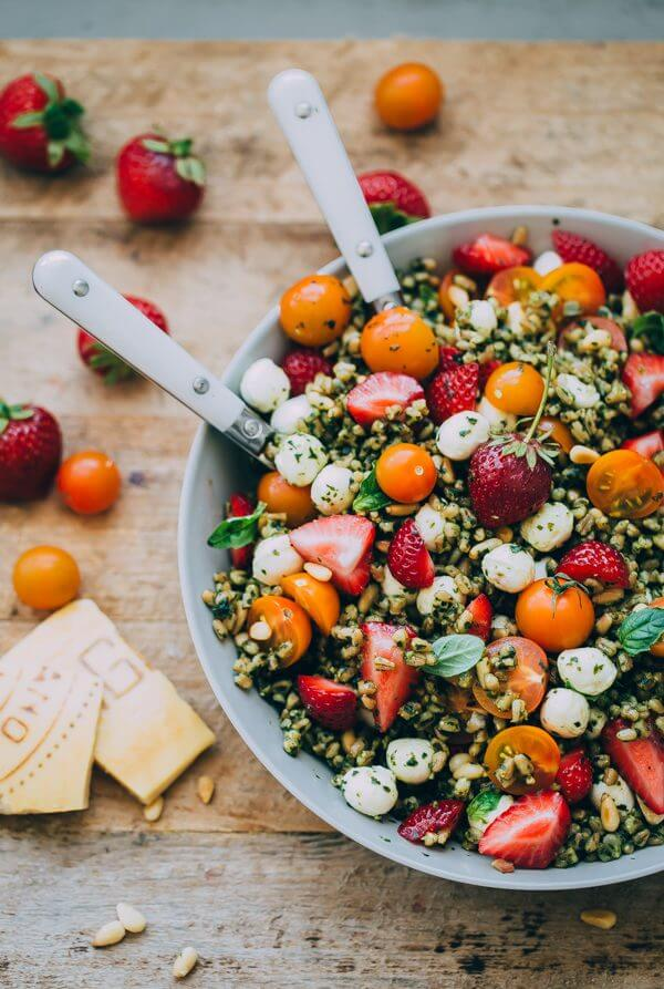 Strawberry Caprese Farro Salad from abeautifulplate.com on foodiecrush.com