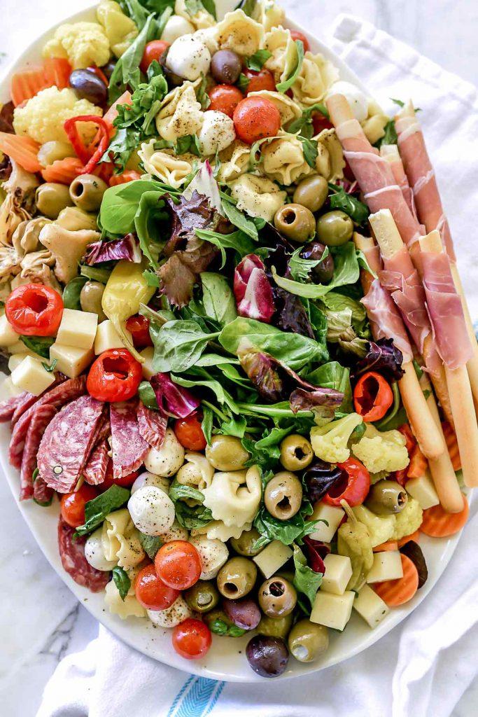 Antipasto Salad Platter | foodiecrush.com #antipasto #salad #platter #Italian #olives