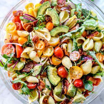 BLT Pasta Salad with Avocado | foodiecrush.com #pasta #salad #BLT #bacon #tomato #avocado #recipes
