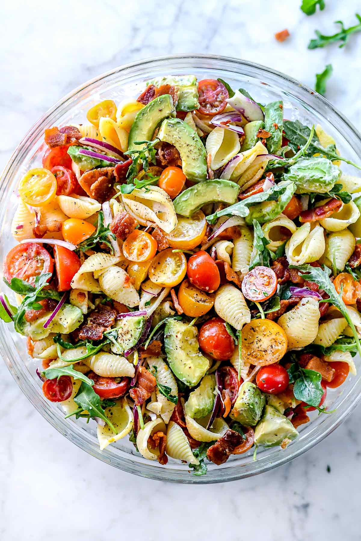 Blt Pasta Salad With Avocado Recipe Foodiecrush Com