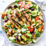 Greek Chicken Gyro Salad | foodiecrush.com #salad #greek #recipes #gyro #chicken