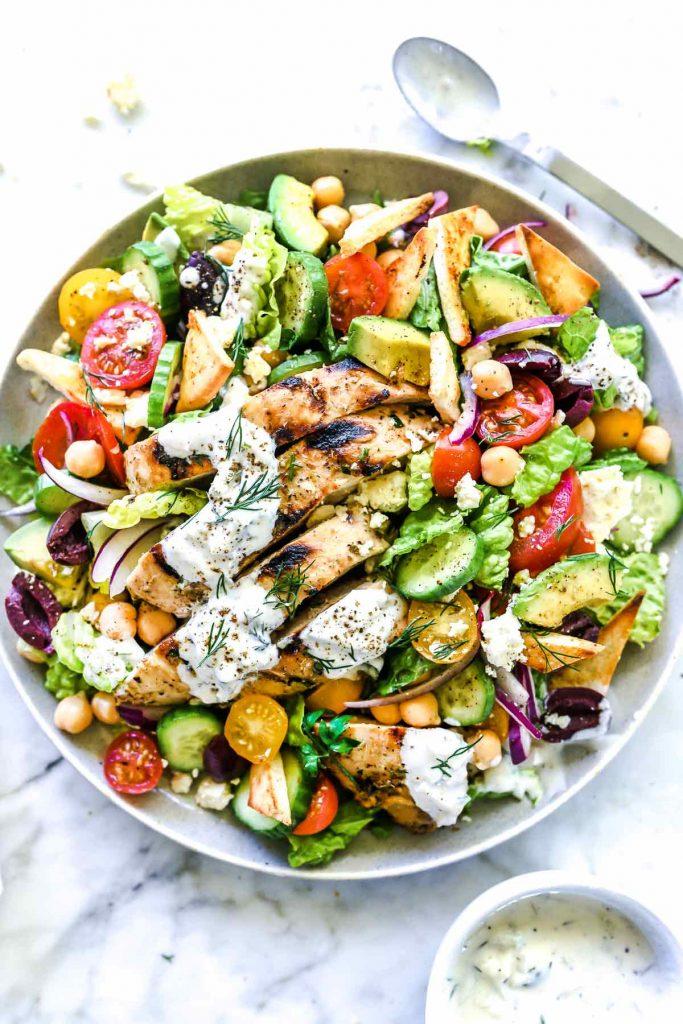 Chicken Gyro Salad | foodiecrush.com #salad #greek #recipes #gyro #chicken