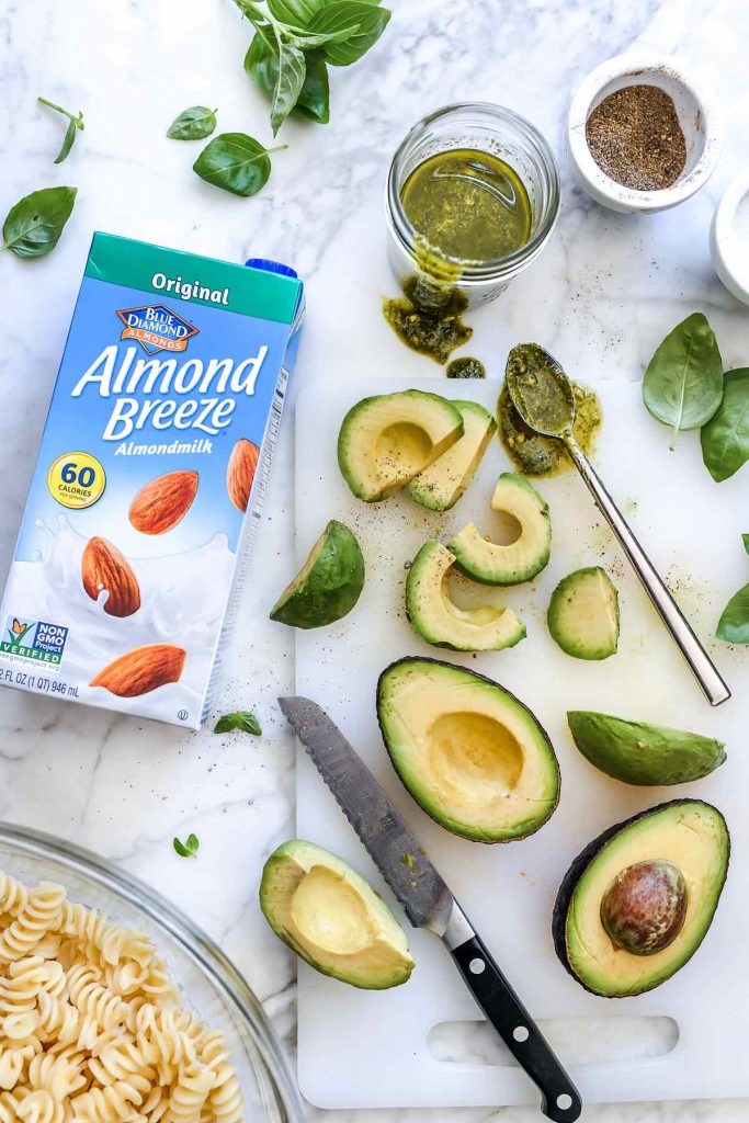 Almond Breeze AlmondMilk and pasta salad ingredients | foodiecrush.com