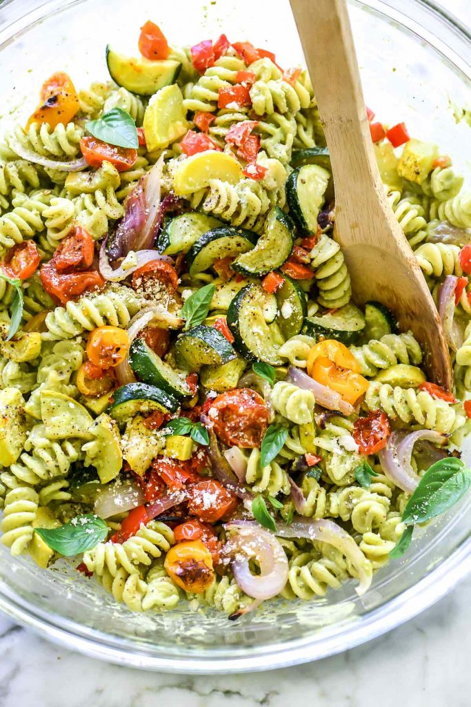 Creamy Avocado Pasta Salad with Roasted Vegetables | foodiecrush.com #salad #pastasalad #almondmilk #vegetable #avocado #creamy