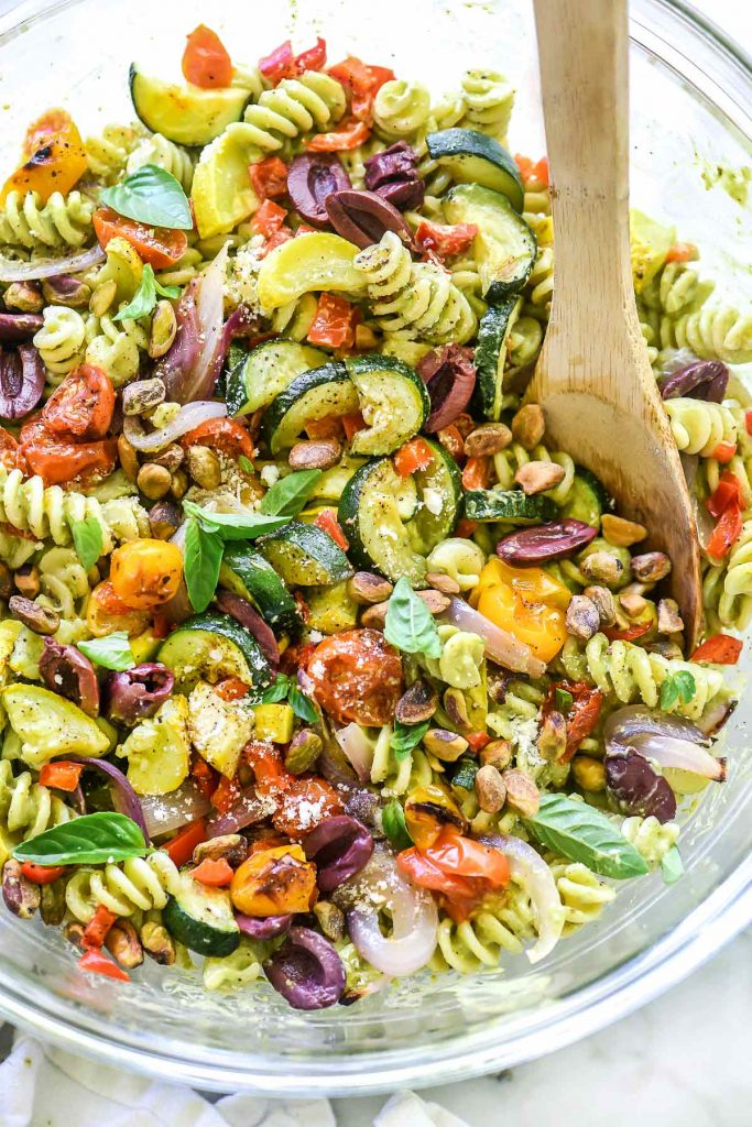 Creamy Avocado Pasta Salad with Roasted Vegetables | foodiecrush.com #salad #pastasalad #almondmilk #vegetable #avocado #creamy