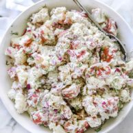 Creamy Dill Potato Salad | foodiecrush.com #potatosalad #salad #recipes #side #dill #potato