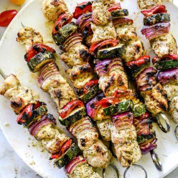 Greek Chicken Kebabs | foodiecrush.com #chicken #grill #chicken #kebab