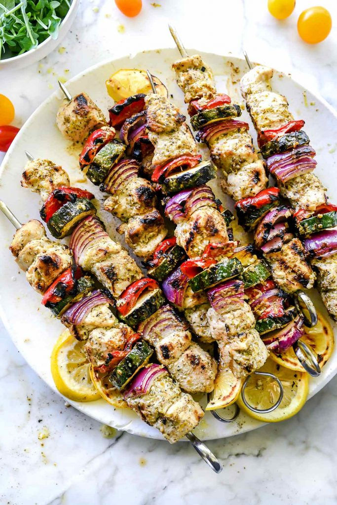 Grilled Greek Chicken Kebab Recipe Foodiecrush Com