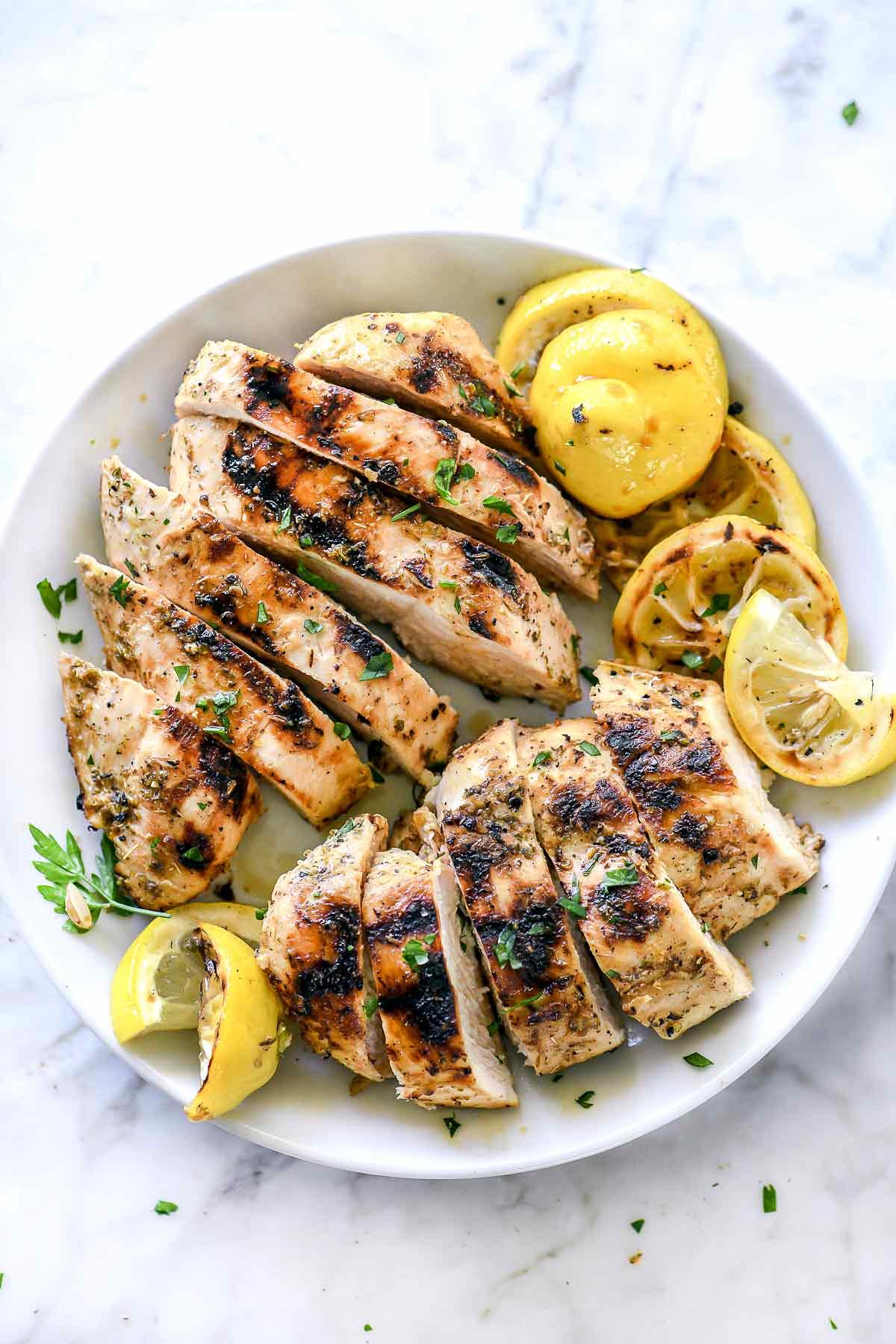 Grilled Greek Chicken Marinade Recipe | foodiecrush.com #chicken #marinade #lemon #greek