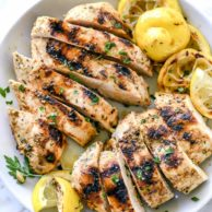 Grilled Greek Chicken Marinade Recipe | foodiecrush.com #chicken #marinade #lemon #greek