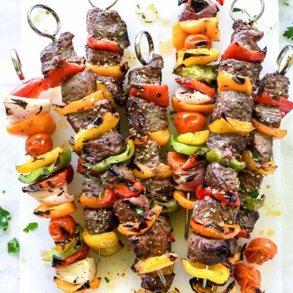 Montreal Steak and Peppers Kebabs | foodiecrush.com #steakrecipes #steakmarinade #montrealsteak #grilling