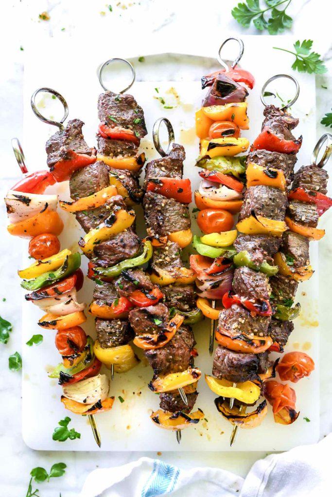 Montreal Steak and Peppers Kebabs | foodiecrush.com #steakrecipes #steakmarinade #montrealsteak #grilling