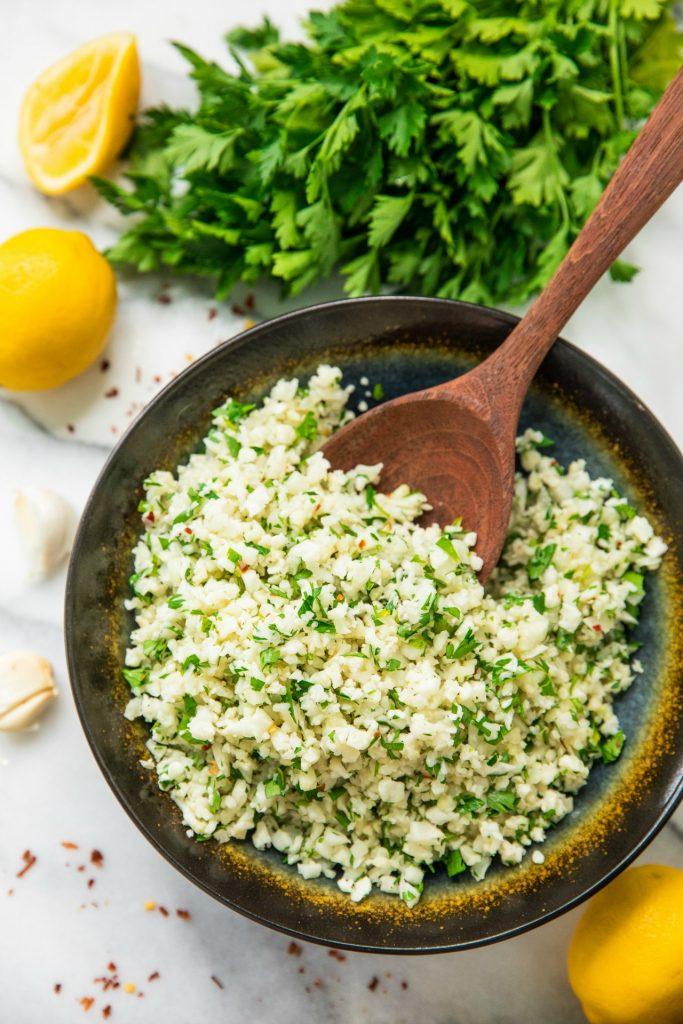 Simple Lemon Parsley Cauliflower Rice from Kim's Cravings on foodiecrush.com