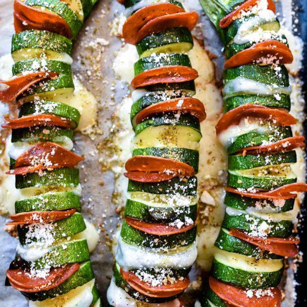 Hasselback Zucchini Pepperoni Pizza Style | foodiecrush.com #zucchini #hasselback #pizza #