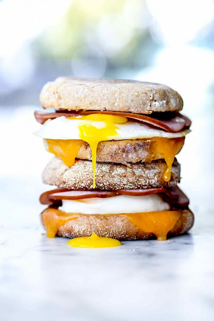 Healthy Homemade Egg McMuffin Recipe | foodiecrush.com #healthy #homemade #breakfast #sandwich #freezer #mcmuffin