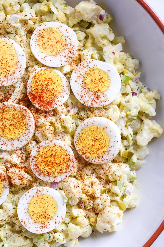"Low Carb ""Potato Salad"" from Skinnytaste on FoodieCrush.com"