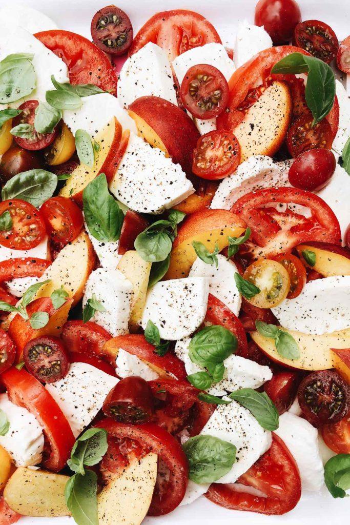 Peach and Tomato Caprese Salad | foodiecrush.com