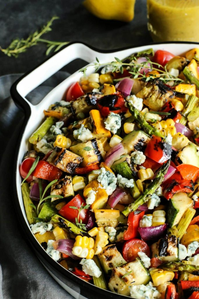 Grilled Vegetable Salad from A Farm Girls Dabbles on foodiecrush.com