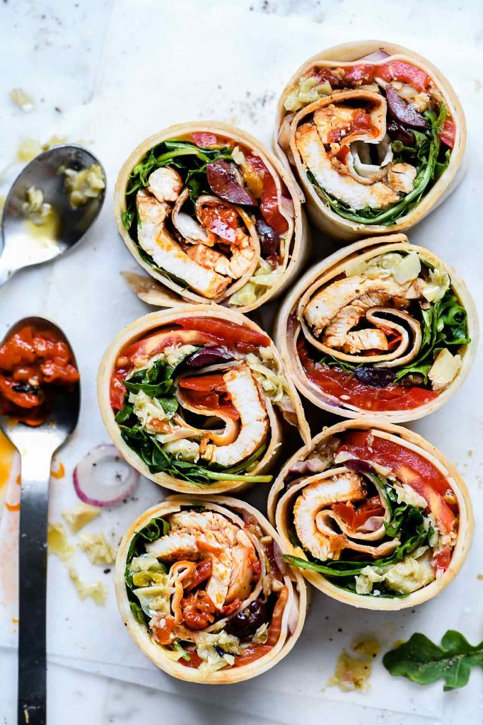 Italian Chicken Wrap Sandwich | foodiecrush.com #italian #chicken #lunch #wrap