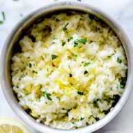 Lemon Rice Recipe | foodiecrush.com #white #rice #lemon #side #recipes